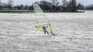 Windsurfer toont kunstjes op... ondergelopen weide in Oostvleteren