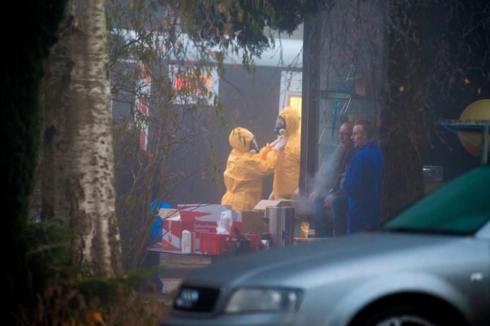 Medewerkers van de Nederlandse Voedsel- en Warenautoriteit (NVWA) tijdens de ruiming in Biddinghuizen