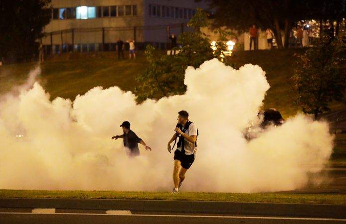 Rellen in de hoofdstad Minsk.