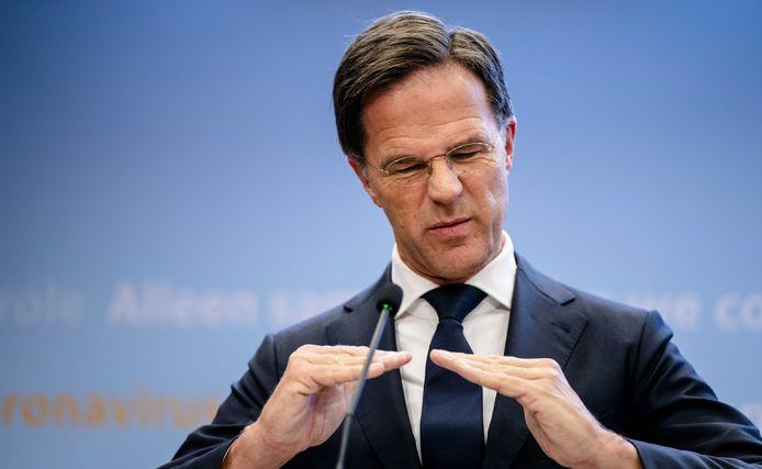 Premier Rutte tijdens de persconferentie dinsdag