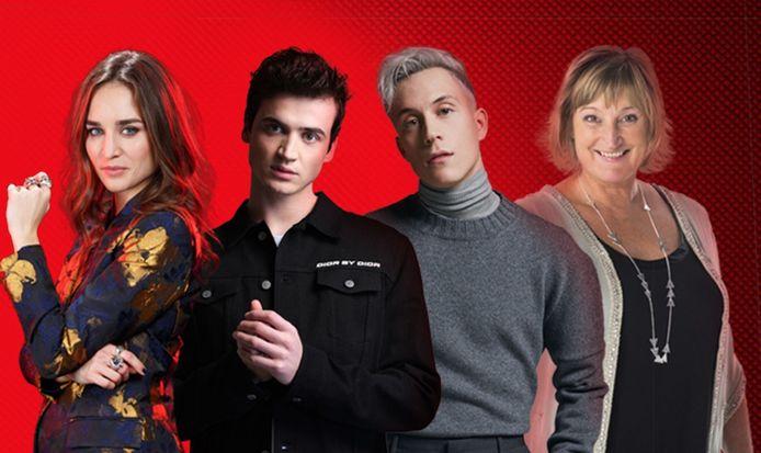 Le jury de The Voice Belgique: Typh Barrow, Henri PFR, Loïc Nottet en BJ Scott.