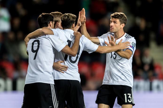Duitsland viert een goal van Timo Werner.