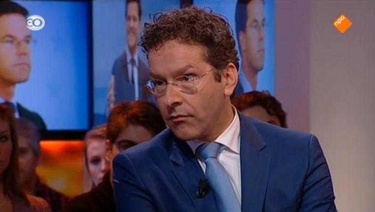 Jeroen Dijsselbloem bij Knevel & Van den Brink, waar hij een opmerking maakt over het drankgebruik van Juncker. Beeld KVDB