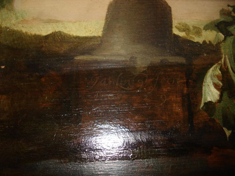 Een detail van het gestolen schilderij Beeld maker onbekend, in het bezit van Arthur Brand