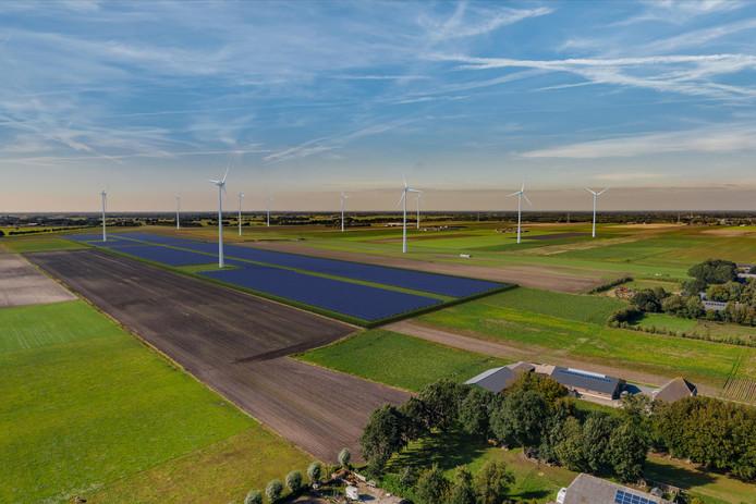 Raedthuys wil een zonnepark realiseren onder de twee meest zuidelijk gelegen windturbines in windpark De Veenwieken, gelegen tussen de Driehoekweg, Dwarsweg en Schapendijk.  Op deze visualisering wordt het zonnepark belicht vanaf de Driehoekweg, vanuit een hoger perspectief.