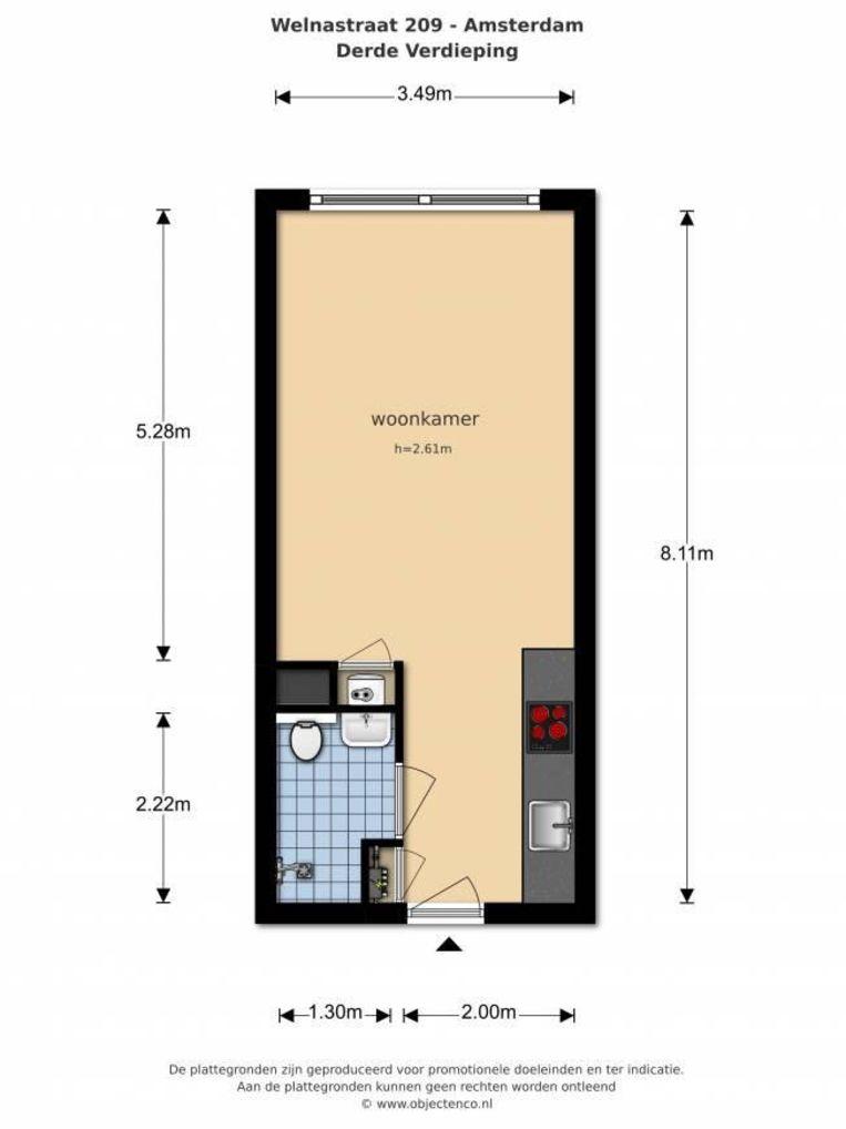 Plattegrond van een micro-appartement. Beeld