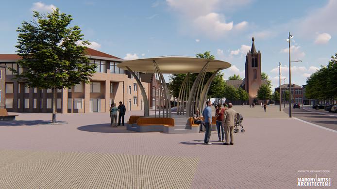 Een impressie van de nieuw te bouwen kiosk in Valkenswaard. Het ontwerp is van Milan Geurts.