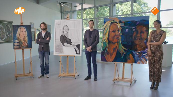 De drie schilders portretteerden Floortje Dessing in Sterren op het Doek.
