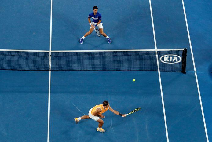 Rafael Nadal en Novak Djokovic tijdens de finale van de Australian Open in 2019.