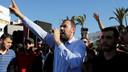 Leider van de protestbeweging Nasser Zefzafi vorige week tijdens een manifestatie in Al Hoceima, zeven maanden na de dood van visverkoper Mouhcine Fikri.