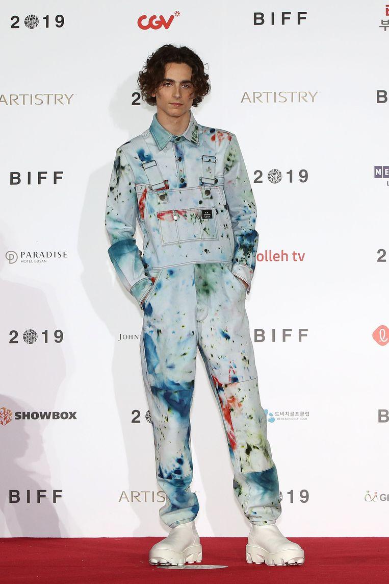 Chalamet in Busan in een outfit van S.R. Studio LA. CA. Beeld Getty