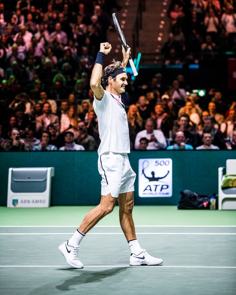 Roger Federer tijdens het ABN Amro World Tennis Tournament in Ahoy Rotterdam. 16 februari 2018.   Beeld Jiri Büller
