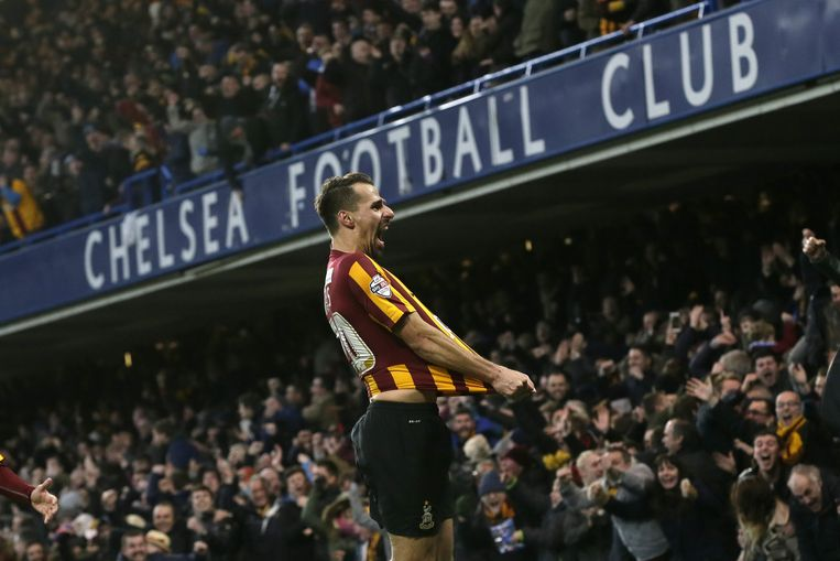 Bradford-speler Filipe Morais na zijn doelpunt tegen Chelsea Beeld null