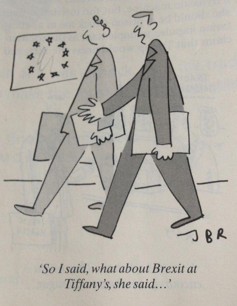 Klein maar fijn was een cartoon in The Spectator met twee eurocraten die een 'Brexit at Tiffany's' voorstellen Beeld