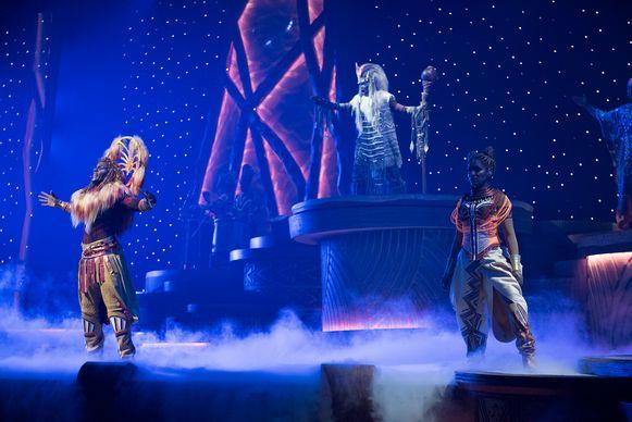 In totaal werd er 2,5 jaar gewerkt aan 'The Lion King: Rhythms of the Pride Lands'. Op het podium staan dertig artiesten.