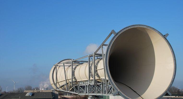 De Invelox is een windmolen voor op een hoog dak in de vorm van een toeter. Beeld -