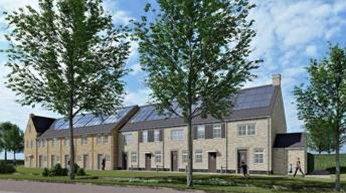 Een aantal van de huurwoningen die Woonbedrijf volgend jaar in plan Huysackers in Veldhoven oplevert.