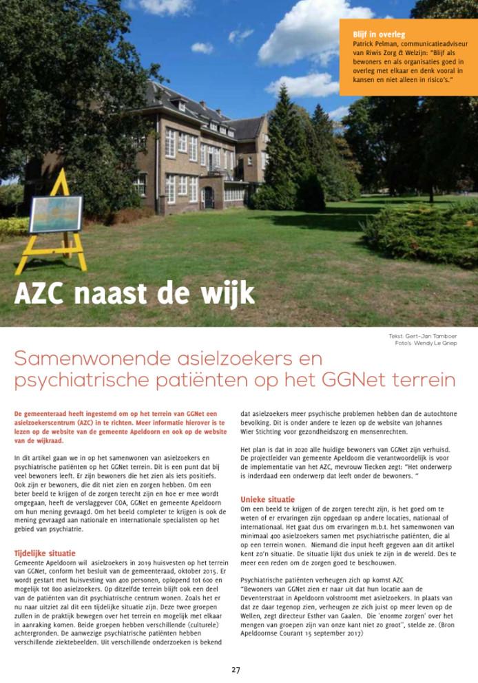De cover van één van de gewraakte artikelen die De Wijkkijker schreef over het azc. Het dateert van de editie van herfst 2018.