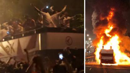 Servische titelviering gaat in rook op: na amper vijf minuten moeten spelers van bus vluchten na ware inferno