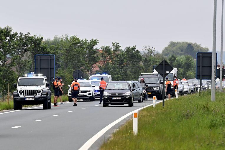 Politiecontroles aan invalswegen bij Knokke-Heist vandaag.