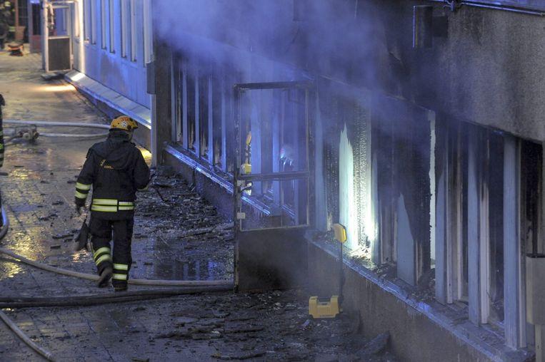 Brandstichting in een moskee in het Zweedse Eskilstuna. Beeld EPA