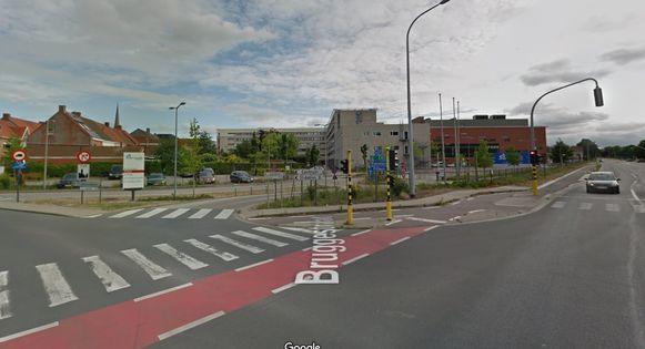 Het kruispunt aan het ziekenhuis in Tielt.
