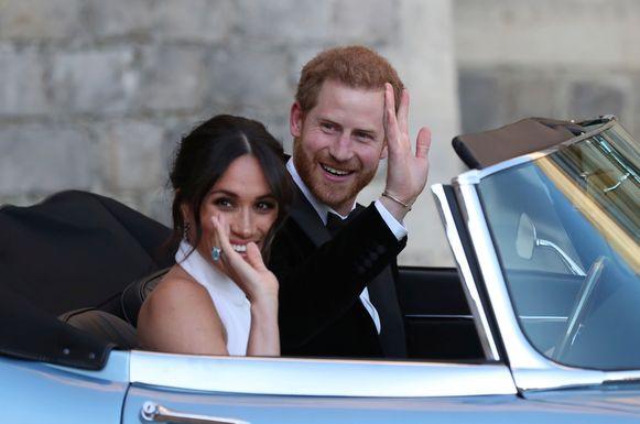 Harry en Meghan tijdens hun huwelijk
