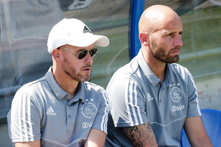 Erik ten Hag en Mitchell van der Gaag, coach van Jong Ajax. Beeld BSR Agency