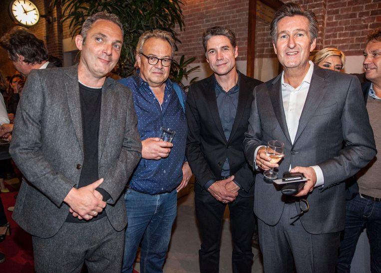Fotograaf Michiel van Nieuwkerk, auteur Huib Stam, acteur Daniël Boissevain en Parool-hoofdredacteur Ronald Ockhuysen (vlnr) Beeld Schuim