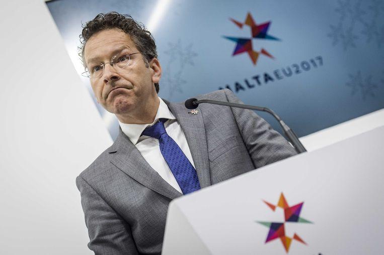 Voorzitter van de eurogroep Jeroen Dijsselbloem tijdens een persconferentie in april dit jaar van de eurogroep in Malta. De ministers van Financien van de eurolanden vergaderen er over het steunprogramma voor Griekenland.  Beeld ANP