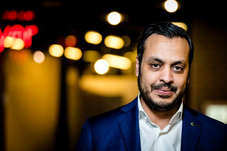 Nourdin el Ouali, lijsttrekker voor Nida in Rotterdam tijdens de gemeenteraadsverkiezingen 2018.  Beeld Hollandse Hoogte /  ANP