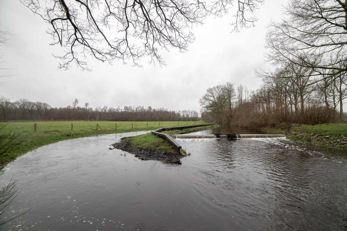 De Schuitenbeek in Putten heeft extreem veel water af te voeren en staat daarom op sommige plekken buiten zijn oevers, maar het Waterschap Vallei en Veluwe is er alleen maar blij mee.