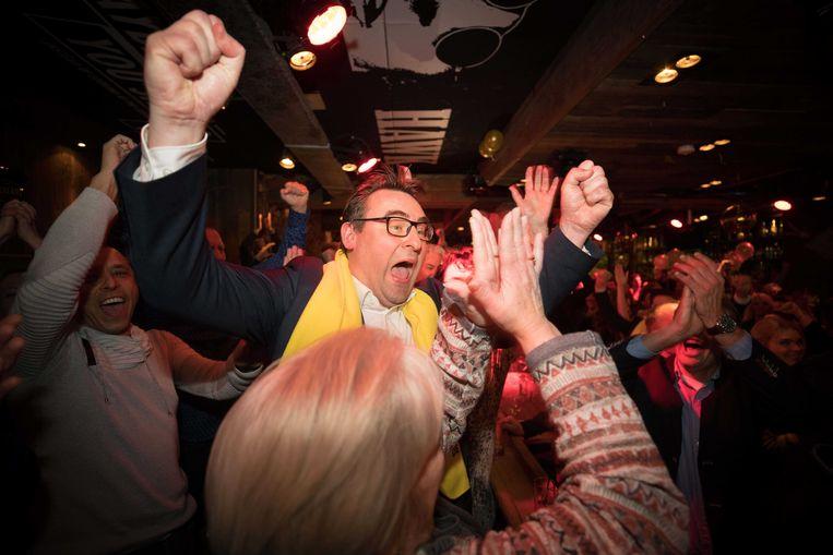 Richard de Mos tijdens de uitslagenavond van de gemeenteraadsverkiezingen. Beeld ANP