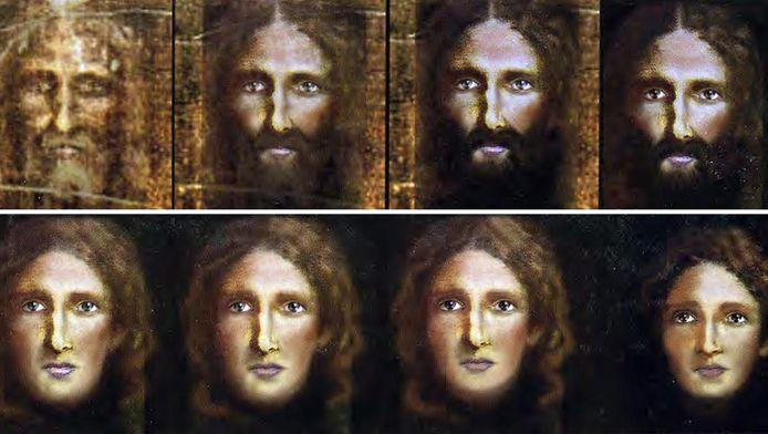 Met behulp van computertechnieken wist de politie van Rome uit de afdrukken in de lijkwade een gezicht te destilleren en dat stapsgewijs (van linksboven naar rechtsonder) steeds jonger te doen lijken
