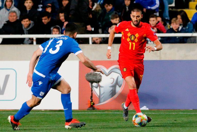 Carrasco gisteren met de Rode Duivels tegen Cyprus.