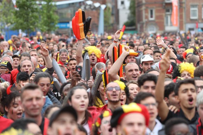 Supporters tijdens de WK-wedstrijd België-Panama.