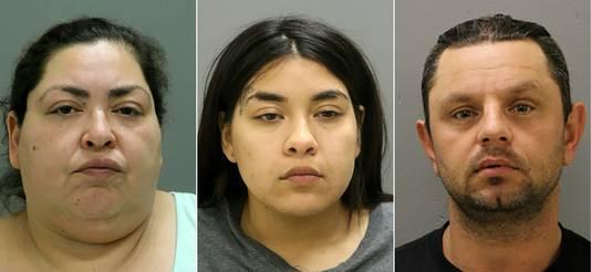 De verdachten op een rij. Van links naar rechts: Clarisa Figueroa, dochter Desiree Figueroa en vriend Piotr Bobak.