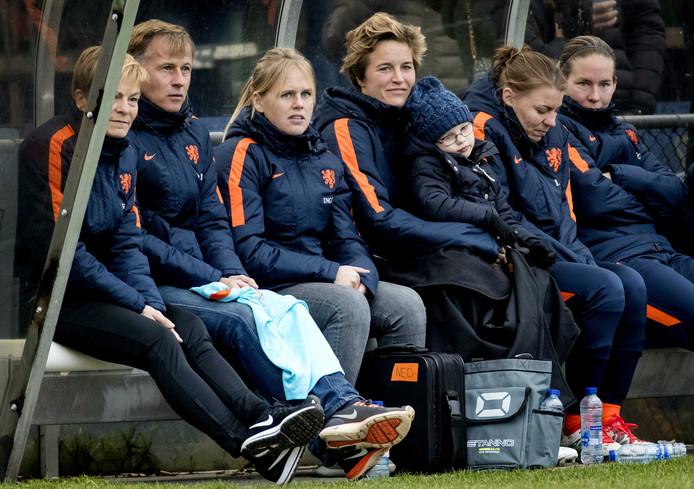 Coaches Vera Pauw en Andries Jonker en Daphne Koster.