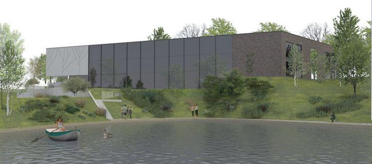 Het cultuurhuis wordt geïntegreerd in de heuvelachtige omgeving van de vijveroever.