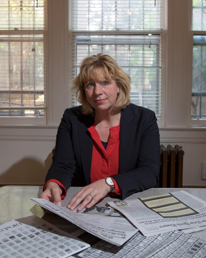 Marieke de Vries, Nederlandse verslaggever van de NOS in de Verenigde Staten, in haar huis in Washington DC.