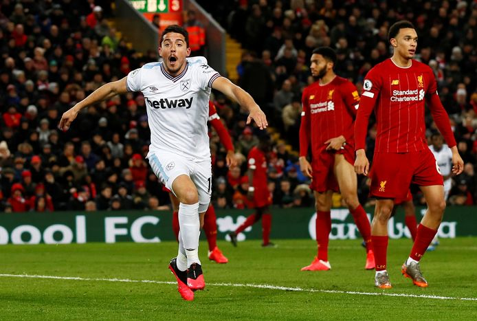 Pablo Fornals juicht na zijn 1-2 namens West Ham United.