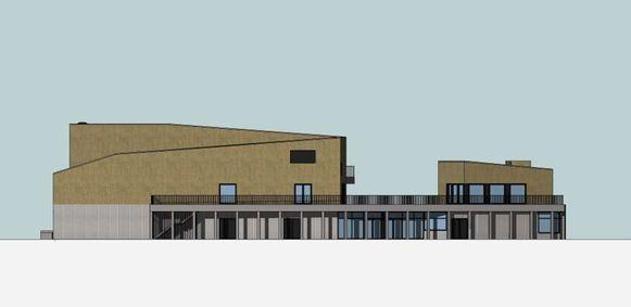 Een eerste simulatie van hoe het gebouw er moet uitzien. De champagnekleur op de verdieping is nieuw.