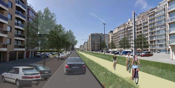 Toekomstbeeld van hoe de wegen zouden kunnen ingericht worden met meer plaats voor fietsers en voetgangers in De Haan