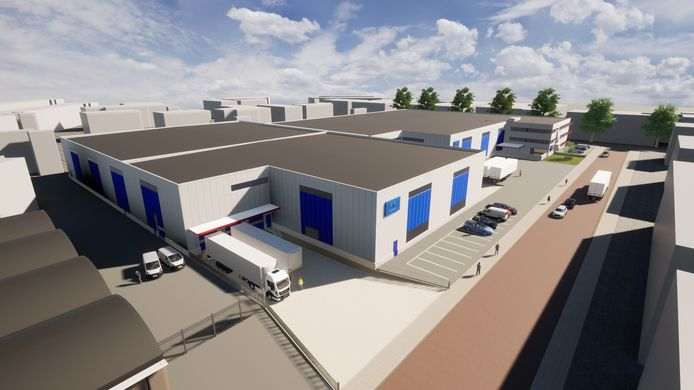 3D-impressie van de uitbreiding van het centraal magazijn in Arnhem van de Wijlhuizen Group, leverancier van truck- en traileronderdelen.