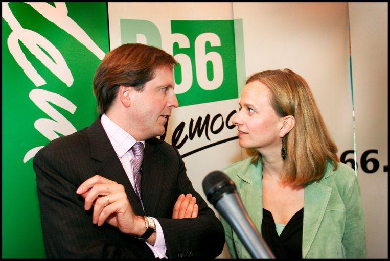 Alexander Pechtold vlak voor zijn aantreden als lijsttrekker van D66 in 2006. Hier met Lousewies van der Laan. Beeld Maarten Hartman
