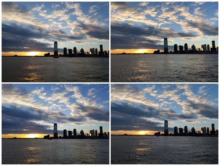 De zonsondergang boven de Hudsonrivier in New York, van links bovenaan in wijzerzin gefotografeerd met een Samsung Galaxy S9, een Apple iPhone X, een Google Pixel 2 XL en een Samsung Galaxy Note 8.