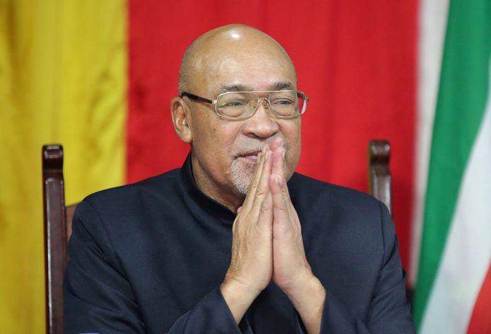 De Surinaamse president Desi Bouterse vorige week op een persconferentie na terugkeer in het land van een staatsbezoek aan China.