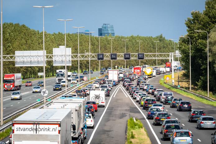 File op de A28 richting Zwolle.