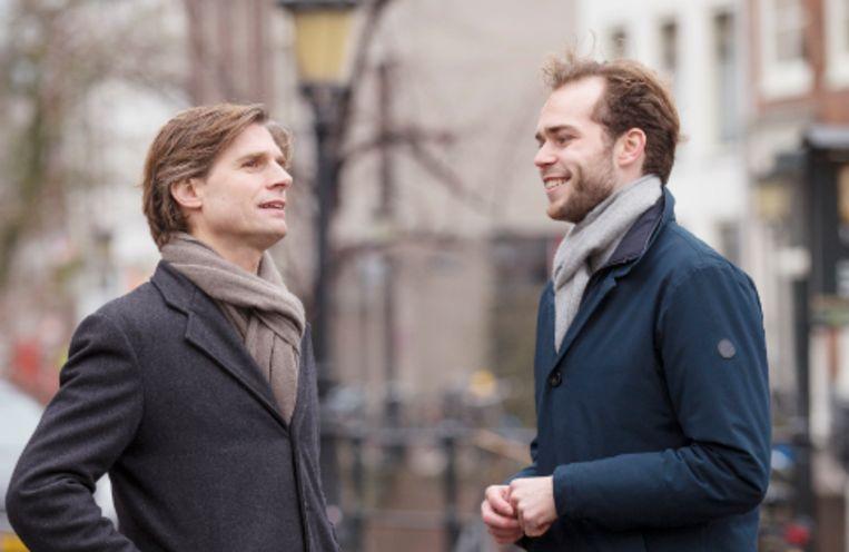 Kristian Valk (links) en de 24-jarige Tom van den Brink, de voorzitters van toen (Valk) en nu (van den Brink) van studentenorganisatie Iso. Beeld Jörgen Caris