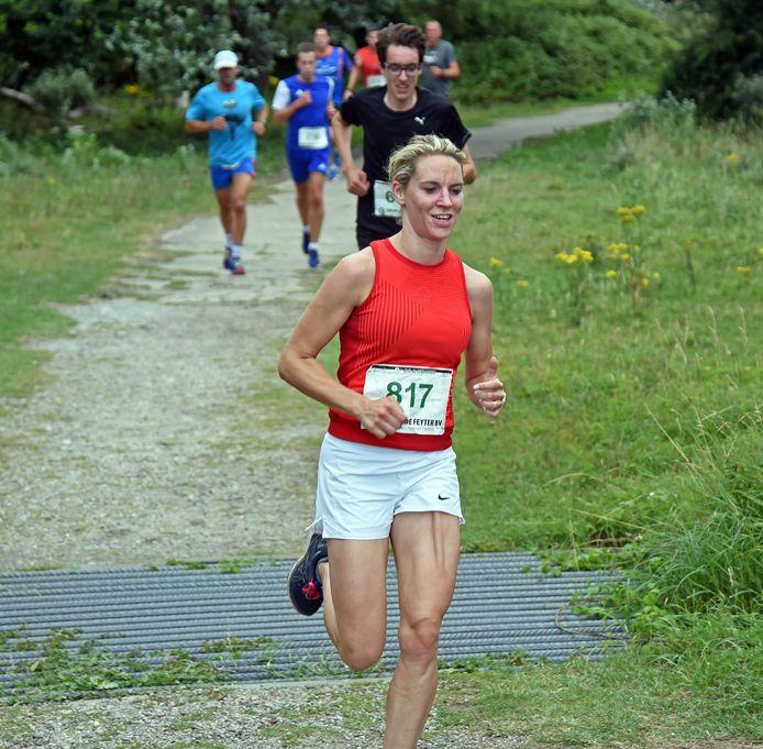 Esther Verhaegen op weg naar weer een overwinning.